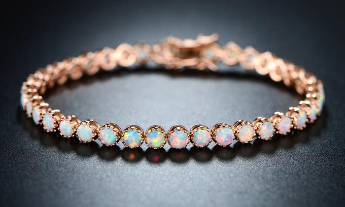 Peermont White Fire Opal Crown Link Tennis Bracelet Groupon