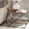 Stilo Antique Black Metal Distressed Wood Occasional End Table