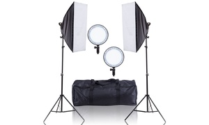 LED Softbox Continuous Lighting Studio w/ 2 Stand Carrying Bag