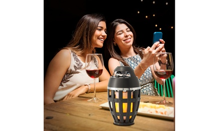 Tiki Torch with Wireless Stereo Speaker, Portable Flame Table Lamp