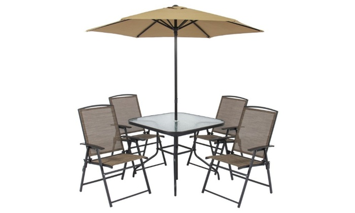 Fine 6Pc Folding Patio Dining Set Table 4 Chairs Umbrella Built In Base Bralicious Painted Fabric Chair Ideas Braliciousco