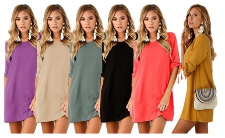 Women's Crew Neck Half Tie Sleeve Solid Tunic Dress fae3fb4c-273c-467f-a318-1b7c00f6e6f3