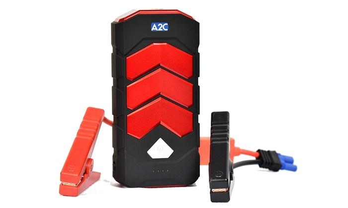 12V up to 16V Battery Jumper Dual USB Safe Smart Booster Portable Phone Tablet Power Pack LED Light Up to 6.5L Gas or 5.0L Diesel A2 Jump Starter Multifunction 600A Peak 16800mAh for Vehicles