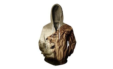 Men's Lion Printed Zip Up Jackets Sweatshirts Hoodies bddd1187-275a-4bed-afaa-cb708a06b50c