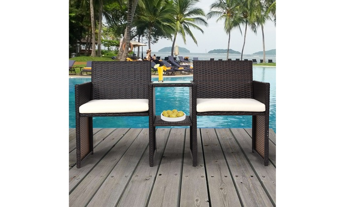 Magnificent Up To 42 Off On Patio Rattan Loveseat Table C Groupon Unemploymentrelief Wooden Chair Designs For Living Room Unemploymentrelieforg