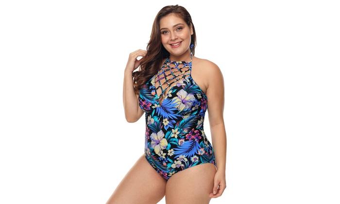 e7b36b6d959 Women s Plus Size High Neck Floral Teddy Swimwear