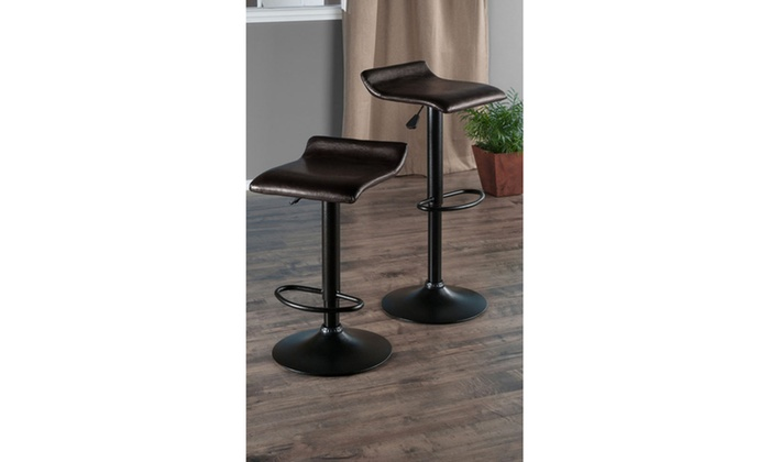 Remarkable Set Of 2 Airlift Adjustable Swivel Stool W T Pu Leather Seat Black Metal Base Short Links Chair Design For Home Short Linksinfo