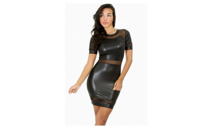 Women's Black Mesh Short Sleeves Leather Dress