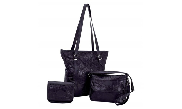 Embassy™ Solid Genuine Leather 3 pc Purse Set with Crocodile Embossing