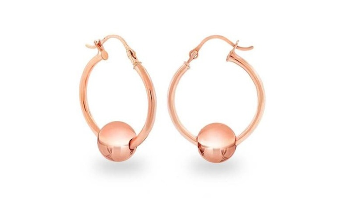 14K Solid Rose Gold Hoop Earrings with Ball Slider