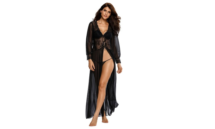 5e3ea930d30 Women s Lingerie Sheer Long Sleeve Lace Robe with Thong