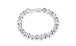 "925 Sterling Silver Ball Bead Bracelet 8""  8MM"