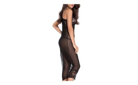 Women's See Through Plus Size High Slit Nightwear Dress Maxi Lingerie - Black 4600b112-4616-4f4f-a3d3-acd42819da62