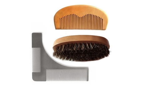 Magik Beard Mustache Hair Face Care Styling Comb Brush Set