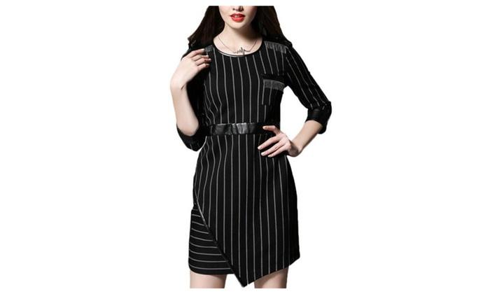 Women's HiddenZipper 3/4 Sleeve Nylon Ribbing Cuffs Dress