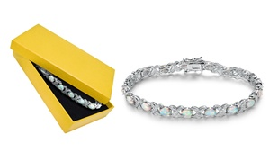 White Fire Opal & Diamond Accent X Tennis Bracelet