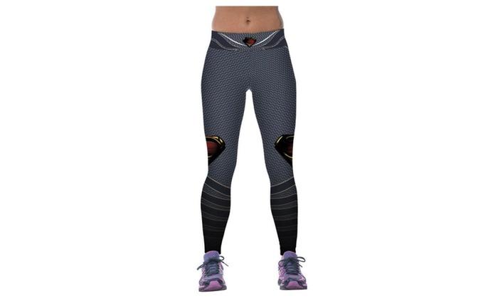 Women's Superman Printing Elasticity Tight Fitness Pants Leggings Grey