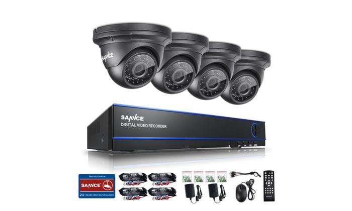 SANNCE 4CH 1080P DVR Surveillance System 4x HD Security Dome Cameras