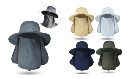 Fishing Hat Outdoor Sun Protection Hat with Removable Neck Face Cover Mask Hat