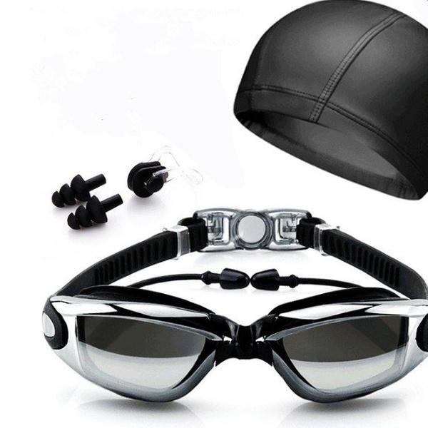 Swimming GOGGLES Glasses UV Protection Anti Fog Swim CAP Ear Nose PLUGS Pool SET