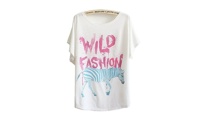 Women's Summer Loose Short Sleeve Print T-shirt Top White