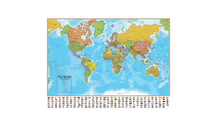 Up to 24 off on round world hemispheres blue groupon goods round world hemispheres blue ocean series world wall map 38 inches x 51 inches gumiabroncs Choice Image