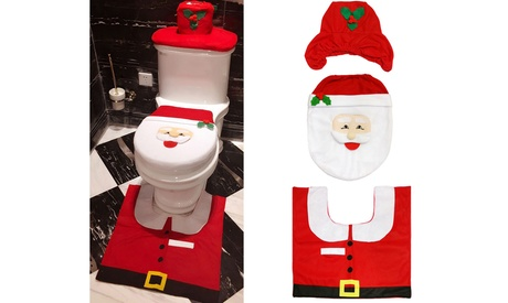 Christmas Edition Bathroom Mat and Toilet Seat Cover Set (3-Piece)