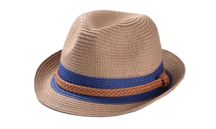 Women's Colorblock Elastic Closure Floppy Brim Panama Hat  – Light coffee / One Size