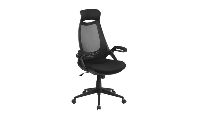 high back black mesh executive swivel office chair with flip up arms
