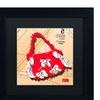 Roderick Stevens 'Bow Purse White on Red' Matted Black Framed Art