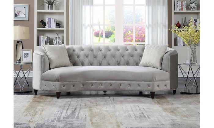Aleah Kidney Shaped Club Sofa With 2 Accent Pillows