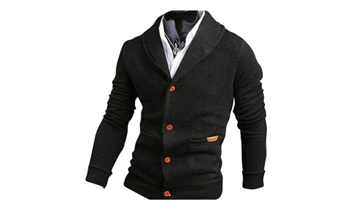 Mens Casual V-neck Long Sleeves Cardigan Sweater
