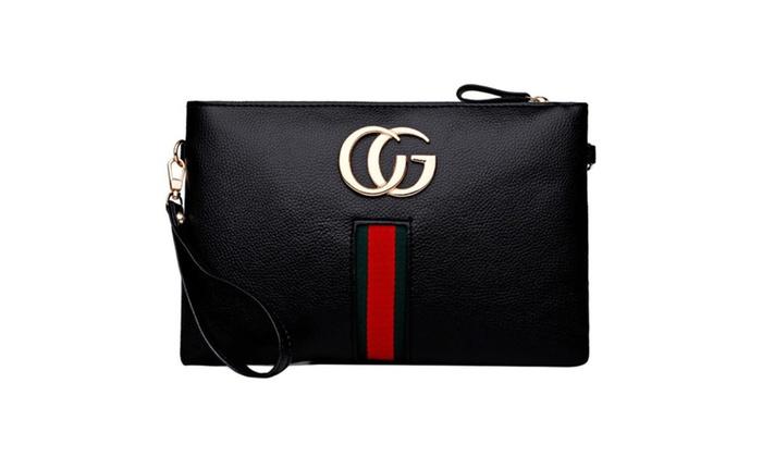 ZMY Women Letter Cross-Body Bag Zip Pouch Clutch Wristlet Wallet  – Black