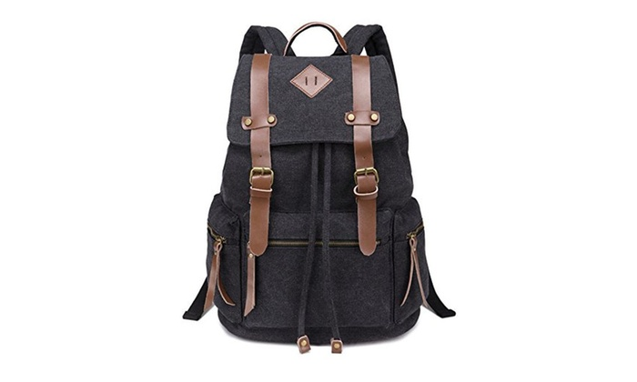 Unisex Causal College Daypack Backpack Canvas Rucksack