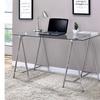 Furniture of America Celeste Contemporary Glass Desk in Chrome