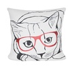 """Loom and Mill P0590-2222P - 22""""X22"""" Cream Cat with Glasses Pillow"""