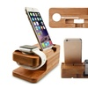 Wooden Dual Smartphone And Smartwatch Resting And Charging Dock Stand
