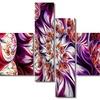 Lavender Floral Pyramid - Contemporary Canvas Art - 63x32 - 4 Panels