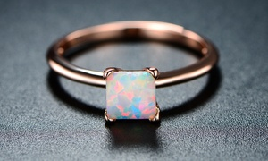 White Fire Opal & 18K Rose Gold Solitaire Riong By Peermont