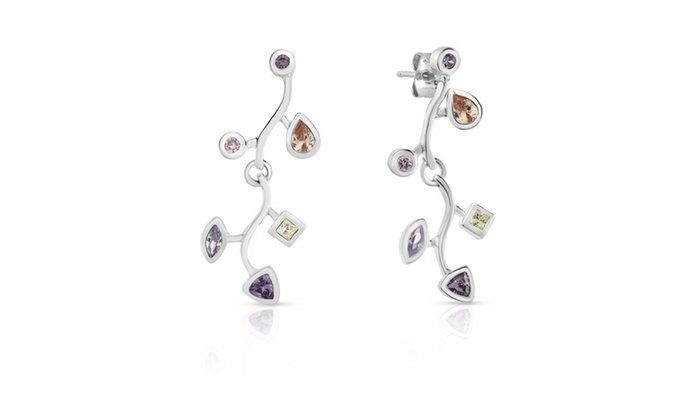 Cubic Zirconia Dangle Earrings In Sterling Silver