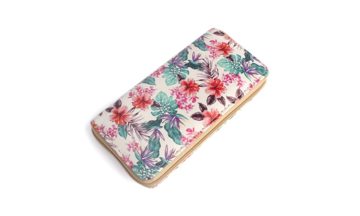 Tropical Flower Zipper Wallet