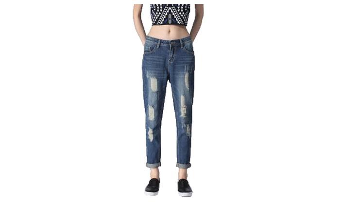 Women's Slim Fit Simple Boot Cut Long Jeans