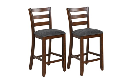 Costway Set of 2 Barstools Counter Height Chairs w/Fabric Seat Rubber Legs