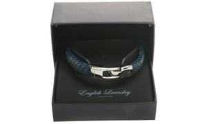English Laundry Men's Leather and Stainless Steel Bracelet