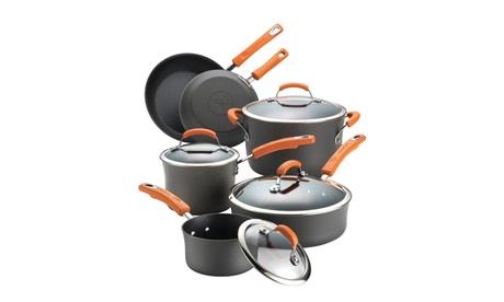 Rachael Ray Hard-Anodized Aluminum Nonstick Cookware (10-Piece) 4bfdda86-cfd1-41e9-836b-deb5fb6f8fd6
