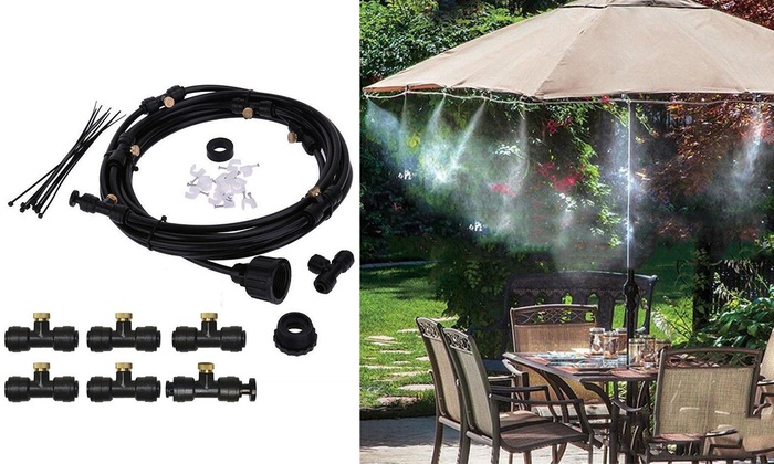 19.6FT Misting Cooling System Outdoor Patio Garden Water Mister Nozzl ...
