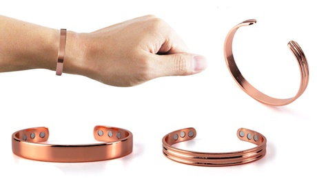 Copper Magnetic Bracelet Arthritis Therapy Women Men Adjustable Roman Cuff