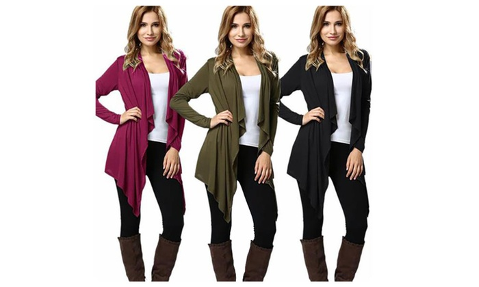 Women's Open Front Irregular Hem Draped Cardigan