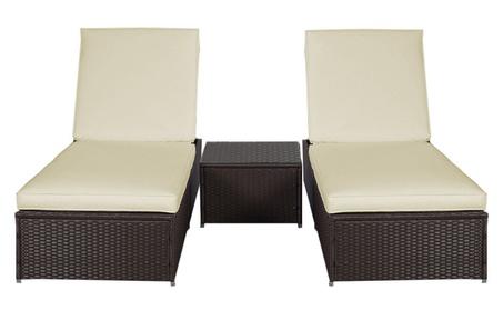3PCS Wicker Rattan Chaise Lounge Chair Set Patio Steel Furniture Brown c406f4df-b3ad-4a85-a3de-f4ad8f015ecc