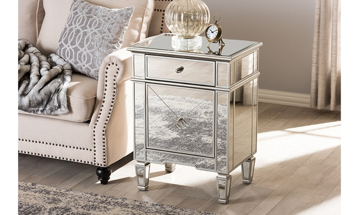 Up To 53 Off On Claudia Mirrored Nightstand Groupon Goods